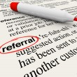 Referral Dictionary Definition Word Circled — Stock Photo