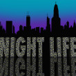Night Life Words Building City Skyline — Stock Photo