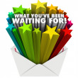 What You've Been Waiting For Envelope Stars Words — 图库照片