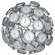 Stock Photo: Clocks in Sphere Time Keeping Past Present Future