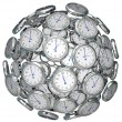 Stockfoto: Clocks in Sphere Time Keeping Past Present Future