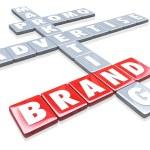 Brand Words on Tiles Advertise Promotion Branding Marketing — Stock Photo