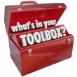 What's In Your Toolbox Red Metal Tool Box Skills Experience — Lizenzfreies Foto