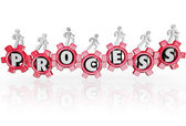 Process People in Gears Working Together Procedure Results — Stock Photo
