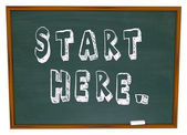 Börja här ord svarta tavlan börjar instruktion lärande — Stockfoto