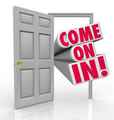 Come On In Doorway Invitation Greeting Guest — Stock Photo