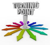 Turning Point Colorful Arrows Important Paths — Stock Photo