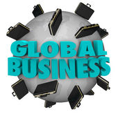 Global Business Words Briefcases Around World Expansion — Stock Photo
