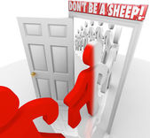 Don't Be a Sheep People March Through Door Compliance — Stock Photo