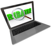 Rebate Word Computer Laptop Screen Online Shopping Bargain — Stock Photo