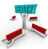 Zdrowe vs niezdrowe jednej osoby dobre zdrowie fitness — Zdjęcie stockowe