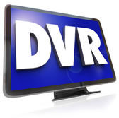 DVR Letters on Widescreen TV HDTV Television — Stock Photo
