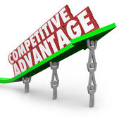 Competitive Advantage Team Lifting Words Arrow — Stock Photo