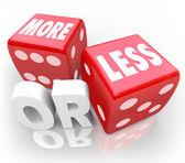 Mais ou menos palavras em vermelho com dados aleatórios gamble oportunidade — Foto Stock