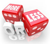 More or Less Words on Red Dice Chance Random Gamble — Stock Photo