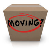 Moving Word Cardboard Box Changing Location Help Support — Stock Photo