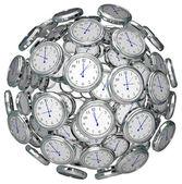 Saatler içinde küre zaman tutmak geçmiş gelecek sunmak — Stok fotoğraf