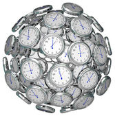 Uhren in sphäre zeitnehmung vergangenheit präsentieren zukunft — Stockfoto