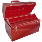 Empty Red Toolbox for Your Copy or Message Blank Copyspace — Stock Photo