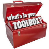 What's In Your Toolbox Red Metal Tool Box Skills Experience — Stock Photo
