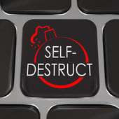 Self-Destruct Computer Keyboard Key Give Up Quit — Stock Photo