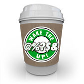 Wake Up Coffee Cup Raise Awareness Alert — Stock Photo