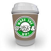 Wake Up Coffee Cup Raise Awareness Alert — Stock Photo