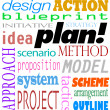Plan Word Background Idea Strategy Method Scheme — Stock Photo