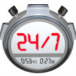 24 Hours a Day Seven Days Week Stopwatch Timer Clock — Stock Photo #32469387