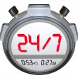 24 Hours a Day Seven Days Week Stopwatch Timer Clock — Stock Photo