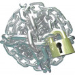 Stock Photo: Chain Link Ball Lock Secure Commitment
