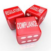 Compliance Regulations Guidelines Three Dice Words — Stock Photo