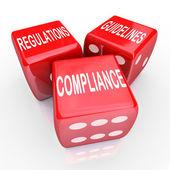 Conformité règlement lignes directrices trois dés mots — Photo