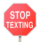 Stop Texting Red Road Sign Warning Danger Text Driving — Stock Photo