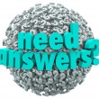 Need Answers Word Ball Question Marks Seeking Solution — Stock Photo