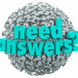 Need Answers Word Ball Question Marks Seeking Solution — Foto Stock