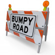 Bumpy Road Construction Barricade Warning Sign — Stock Photo