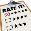 Rate It Stars Reviews Feedback Clipboard — Stock Photo