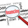 Financing Magnifying Glass Words Load Mortgage — Foto de stock #32472149