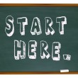 Start Here Words Chalkboard Begin Instruction Learning — Stock Photo