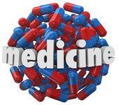 Medicine Word Prescription Pills Capsules — Stock Photo