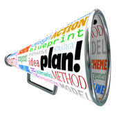 Plan Word Bullhorn Megaphone Spreading Strategy Idea — Stock Photo