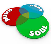 Mind Body Soul Venn Diagram Total Wellness Balance — Stock Photo