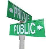 Prywatne vs dwóch publicznych sposób ulica droga znaki porównania — Zdjęcie stockowe