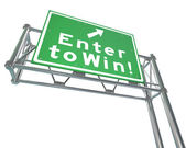 Enter to Win Words Green Freeway Sign — Stock Photo