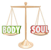 Body and Soul Words Scale Balance Weighing Total Health — Stock Photo