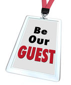 Be Our Guest Badge Lanyard Welcome Visitor — Stock Photo