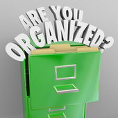 Are You Organized Filing Cabinet Words Records File System — Stock Photo
