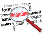 Financing Magnifying Glass Words Load Mortgage — Foto de Stock