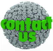 Contact Us Symbol Sphere Customer Feedback Comments — Stock Photo